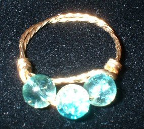 Brass Blue & Pink glass Ring, size 8