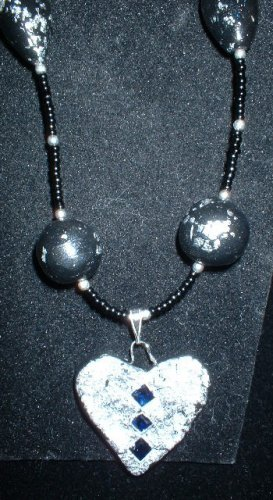 Black Beaded Necklaces w/ 3 Sapphires