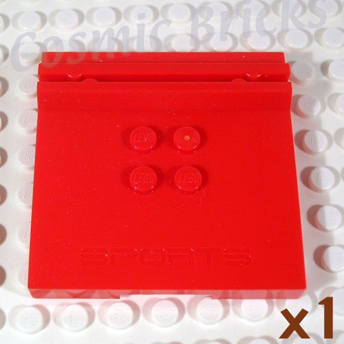 LEGO Bright Red Tile Modified 6x6x0.6 4 Studs Embossed 'SPORTS' 45522 (single,N)