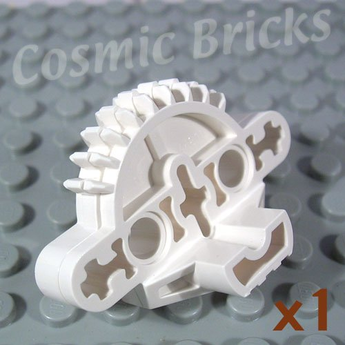 LEGO White Bionicle Matoran Torso Gear 9 Tooth 3 Axle Holes 2 Pin Holes 44810 (single,N)