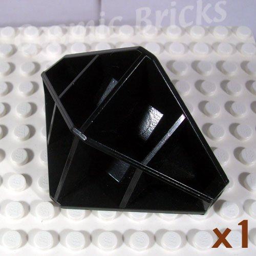 LEGO Black Panel 4x4x6 Corner Convex Ribbed 4737 (single,U)