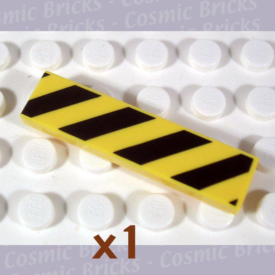 LEGO Yellow Tile 1x4 Diagonal Stripes Black 4119091 2431 (single,N)