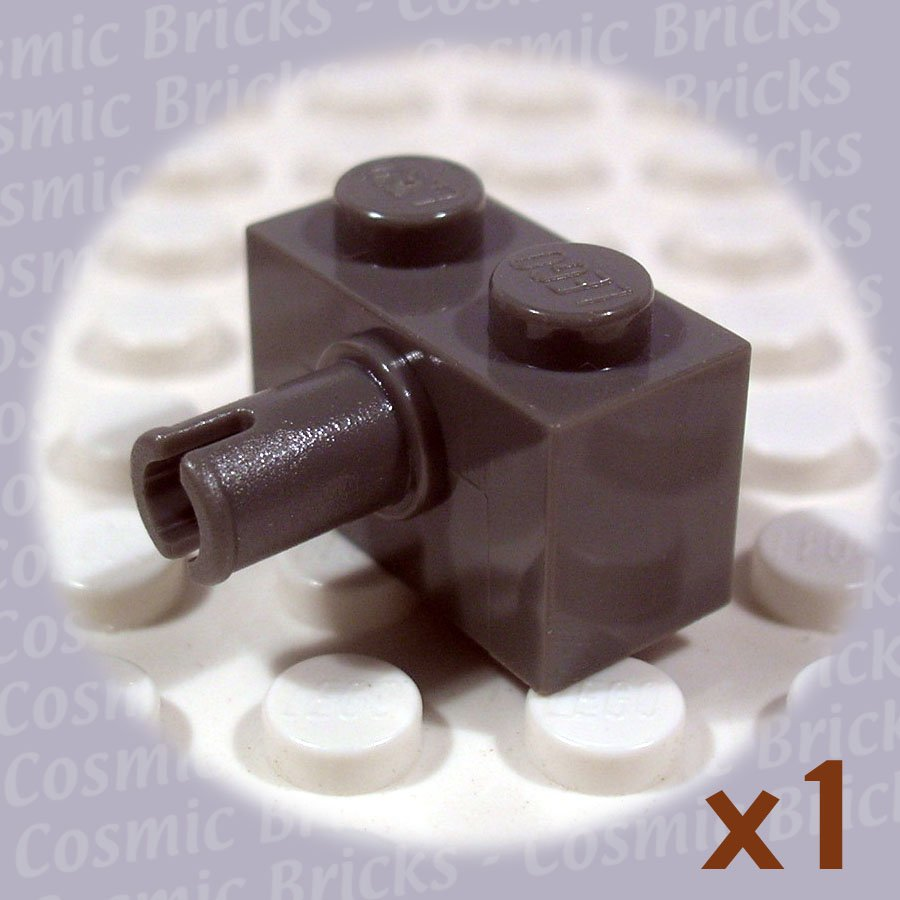 LEGO Dark Gray Brick Modified 1x2 Pin 4113907 2458 (single,N)