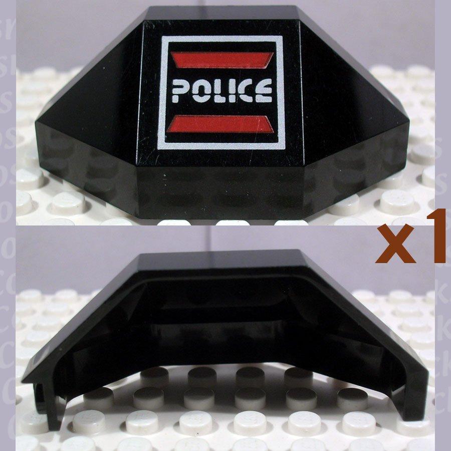 LEGO Black Panel 3x3x6 Corner Convex Space Police I Logo Right (single,U)