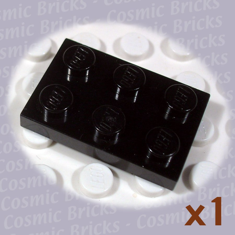 LEGO Black Plate 2x3 302126 3021 (single,U)