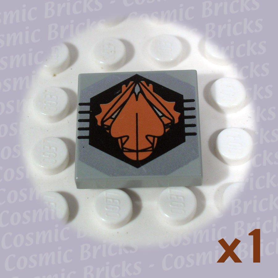 LEGO Light Gray Tile 2x2 Black Orange UFO Logo 3068 (single,U)