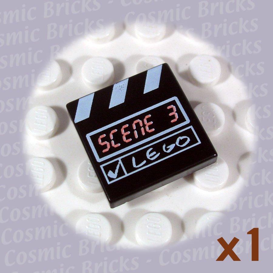 LEGO Black Tile 2x2 Scene 3 White Stripes 3068 (single,N)