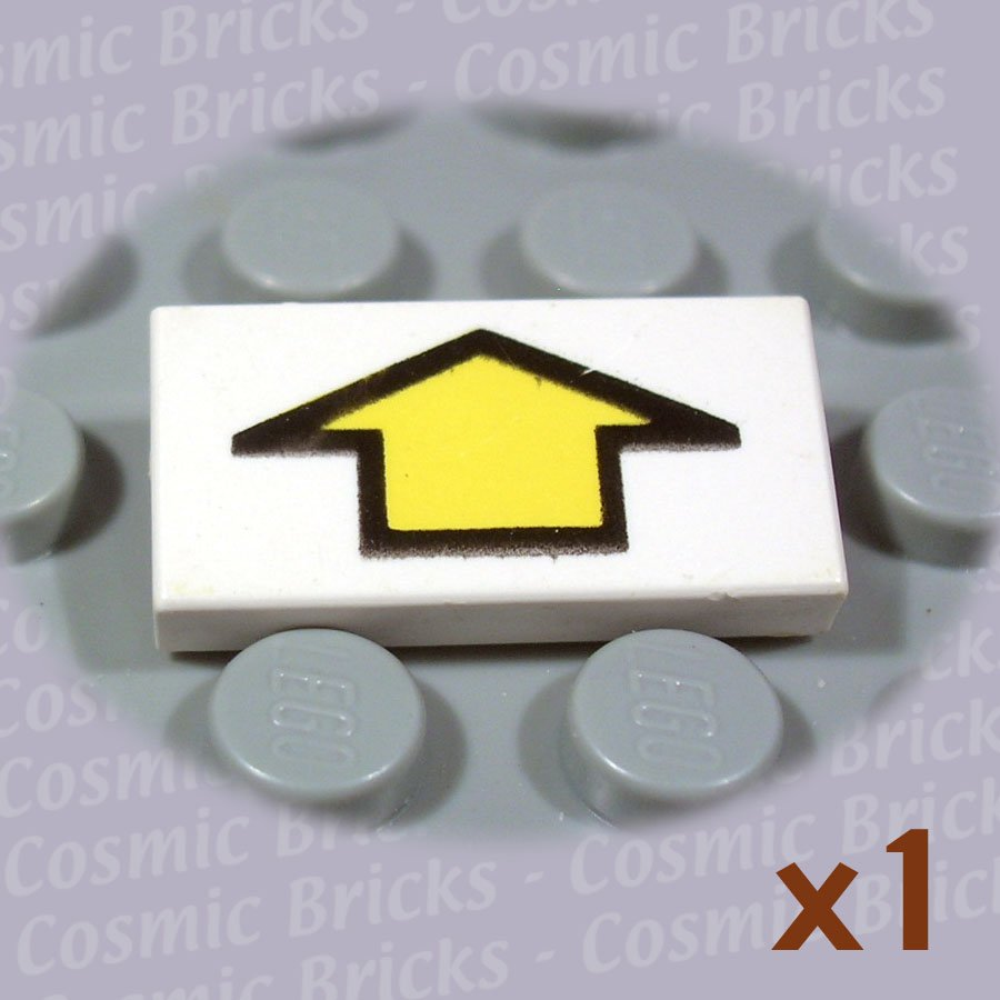 LEGO White Tile 1x2 Arrow Short Yellow Black Border 3069 (single,U)