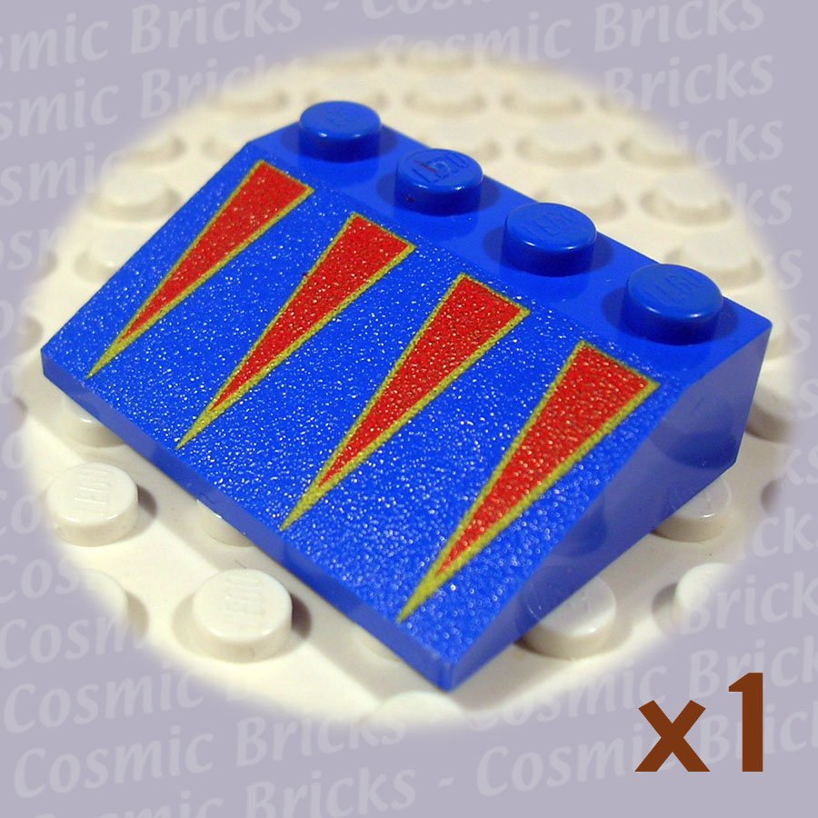 LEGO Blue Slope 33 3x4 Red Triangles Yellow Border 3297 (single,N)
