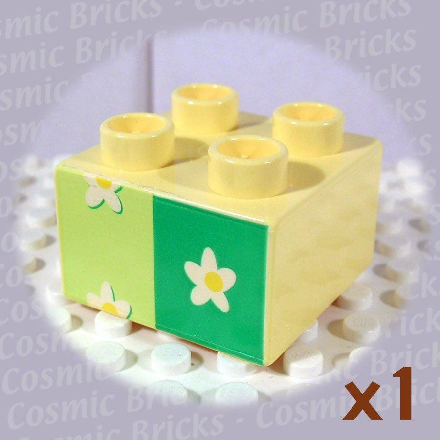 LEGO Light Yellow Duplo Brick 2x2 Flower Wallpaper 3437 (single,N)