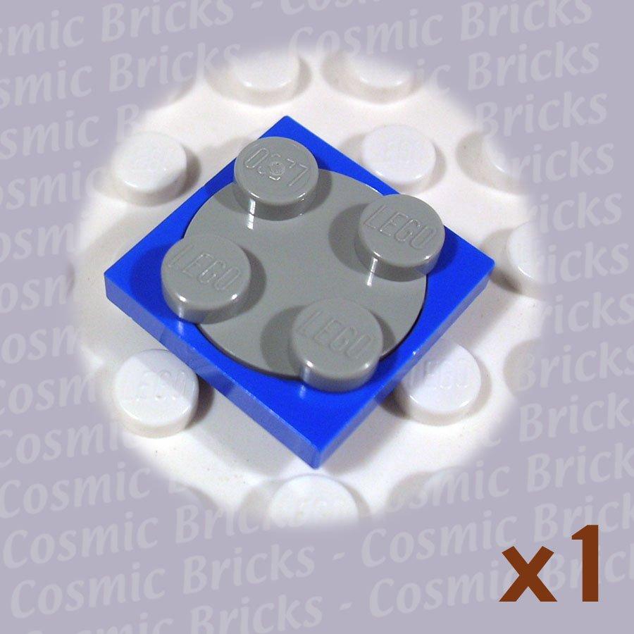 LEGO Blue Turntable 2x2 Plate Light Gray Top 3680 (single,N)