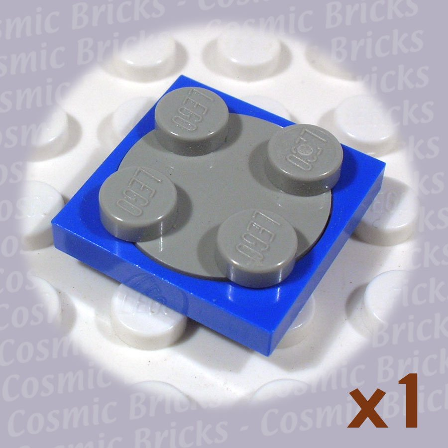LEGO Blue Turntable 2x2 Plate Light Bluish Gray Top 3680 (single,U)