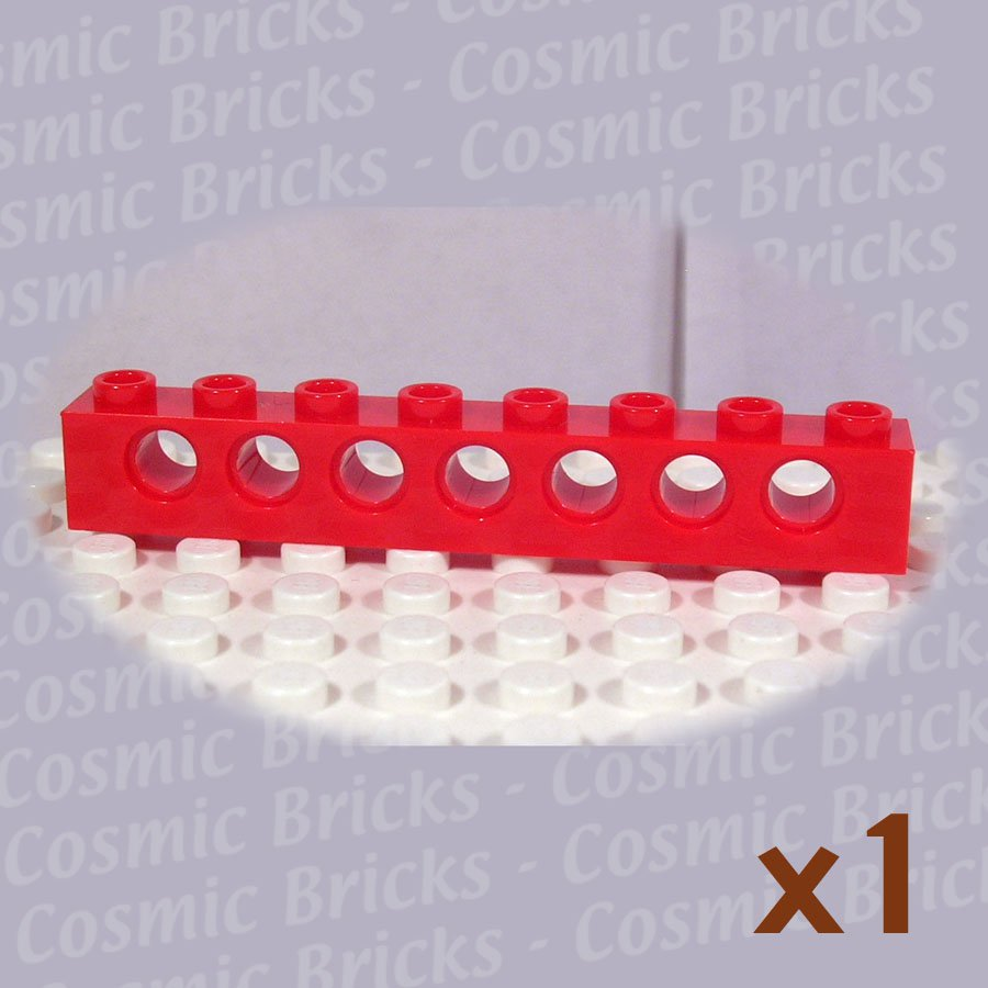 LEGO Red Technic Brick 1x8 Holes 370221 3702 (single,U)