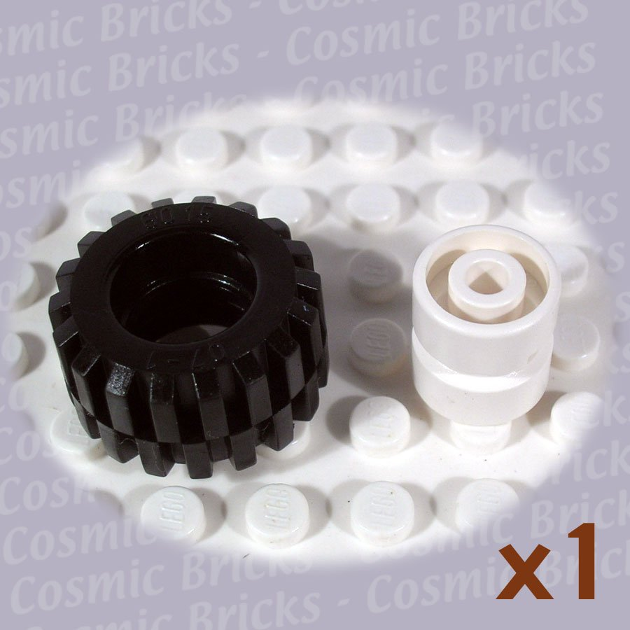 LEGO White Wheel and Black Tire 11.5x12mm 6014 (single,N)