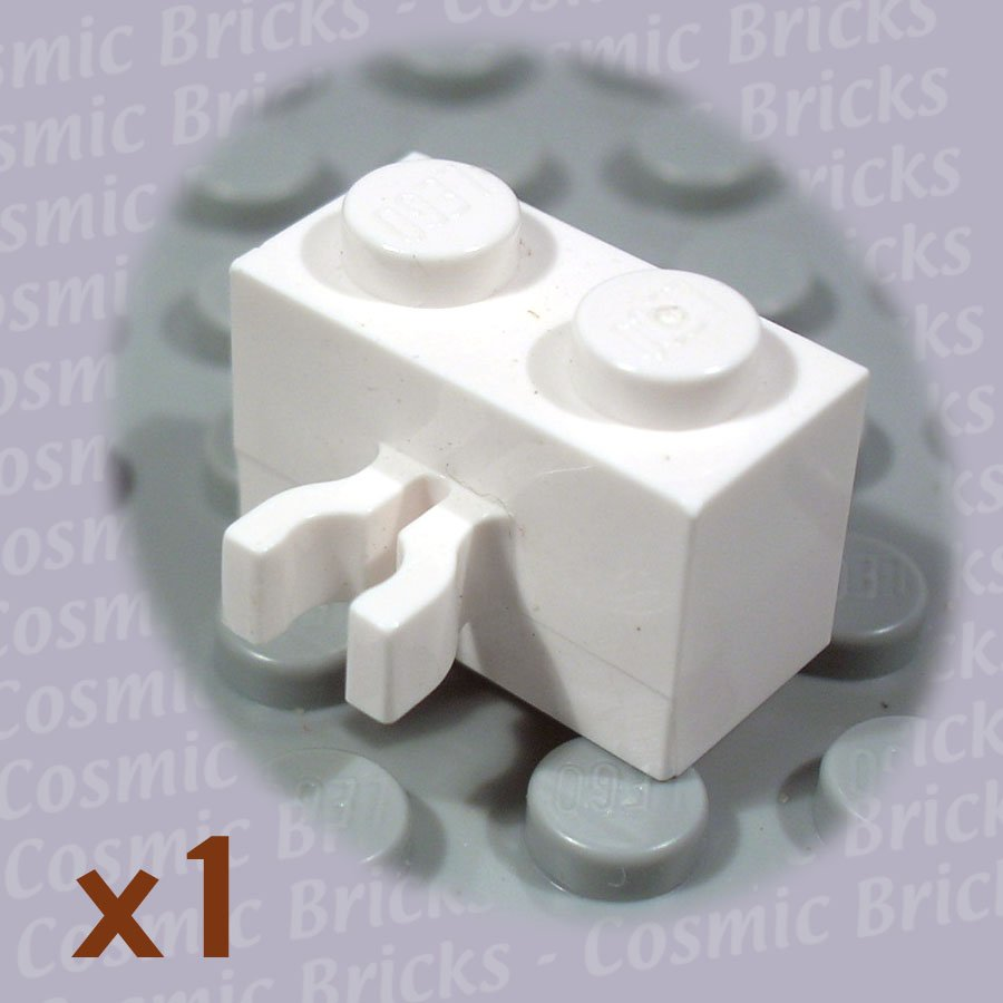 LEGO White Brick 1x2 Vert. Clip 4117061 30237 (single,U)