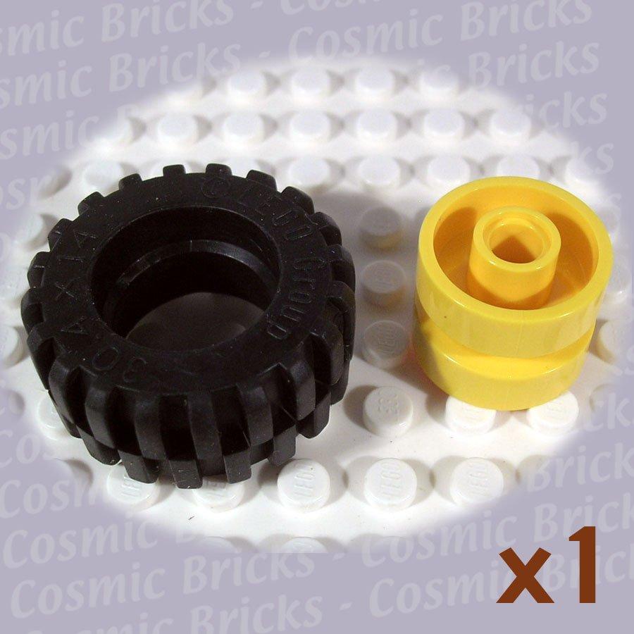 LEGO Yellow Wheel and Black Tire 30.4x14 30285 (single,N)