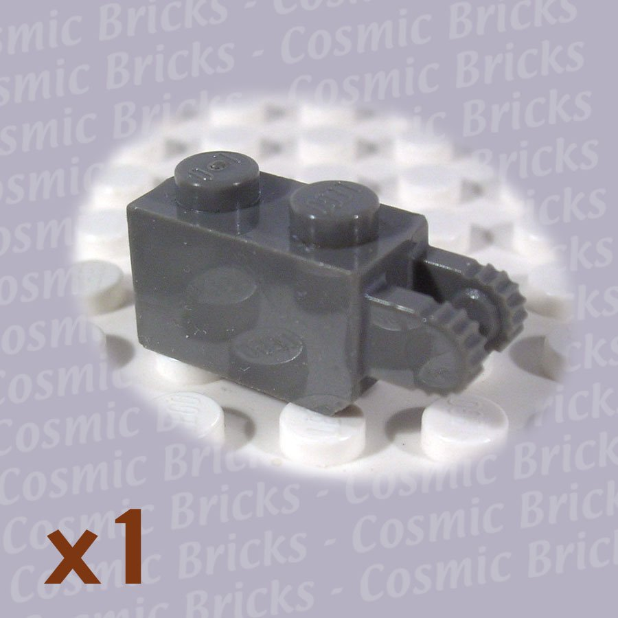 LEGO Dark Gray Hinge Brick 1x2 Locking 2 Fingers Vertical End 4144501 30365 (single,N)