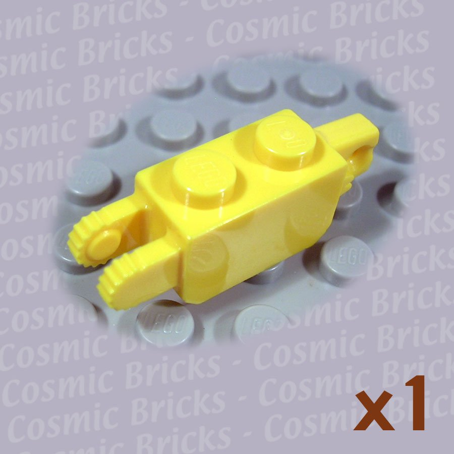 LEGO Yellow Hinge Brick 1x2 Locking 1 and 2 Fingers Vertical 4140704 30386 (single,N)