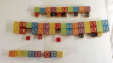 Wooden Alphabet & Number Blocks Blocks Multiple Colors 48 Large 13 Small