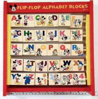 Disney Flip Flop Alphabet Blocks Wood Mickey Minnie Goofy Pluto Donald Kids Toy