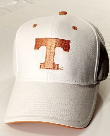 Brand New University of Tennessee Bill Cap, White/Orange, Universal Fit Adult