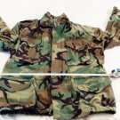 Woodland Camo Cold Weather Field Jacket Large Regular US Navy Patch