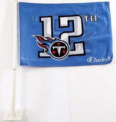 "Tennessee Titan 12th Man Car Flag, Very Nice, Baby Blue, 15 x 11 ~ 19"" Pole"