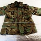 Woodland Camo Cold Weather Field Jacket Small Regular USNavy Patch SeaBee Pocket