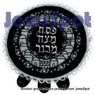 VELVET LARGE PESSOVER COVER ROUND SILVER JERUSALEM - DANTEL
