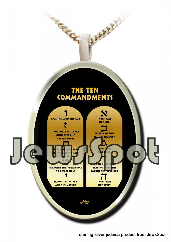 "SS PENDANT NANNO 24 KT GOLD IMPRINT- ENGLISH ""TEN COMMANDMENTS"" + CHAIN, BOX, MAGNIFYING GLASS"