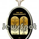 "SS PENDANT NANNO 24 KT GOLD IMPRINT- ENGLISH ""TEN COMMANDMENTS"" + CHAIN, BOX, MAGNIFYING GLASS"