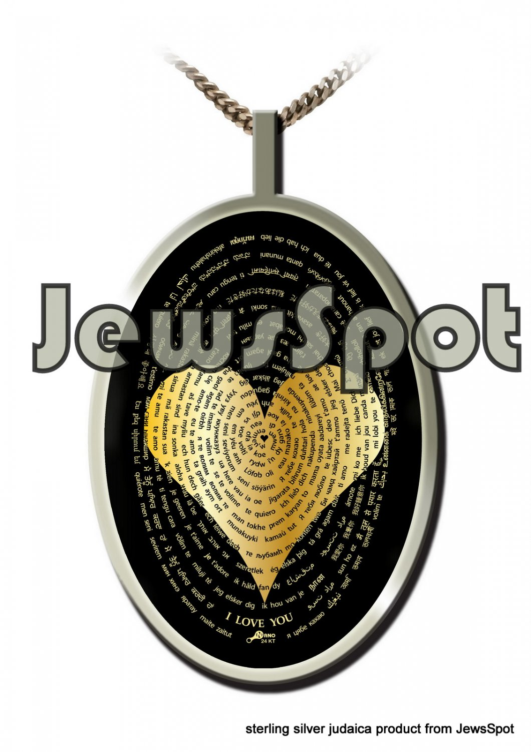 """SS PENDANT NANNO 24 KT GOLD IMPRINT- """"I LOVE YOU"""" IN 120 LANGUAGES + CHAIN, BOX, MAGNIFYING GLASS"""