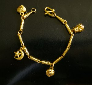 """6.2""""Lovely 24K gold filled bracelet star heart bangle35"""