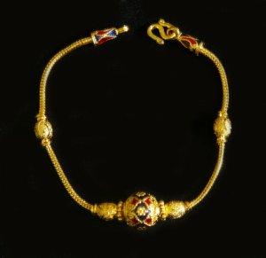 "enamel bead weave 6.8"" 24K gold filled bracelet 56"