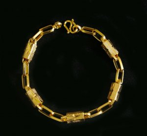 "7.3""chain & bead 24K gold filled bracelet bangle 80"