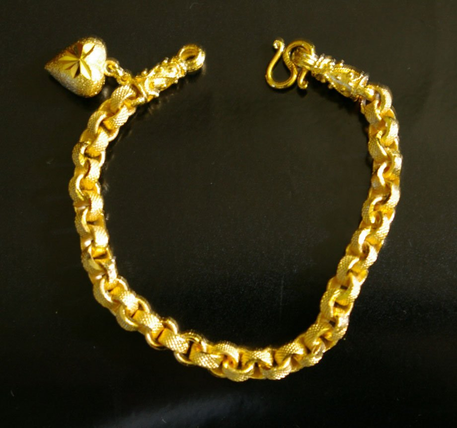 "7"" nice sand chain 24K gold filled bracelet bangle 45"