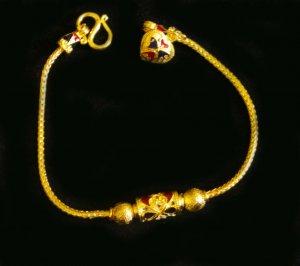 """Sale 7""""fascinated enamel bead 24K gold filled bracelet bangle 81"""