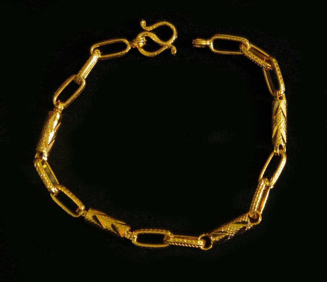 """7.8"""" chain bead 24K gold filled bracelet bangle 86"""