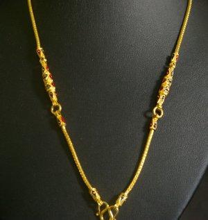 """24"""" Enamel bead 24K gold filled necklace 40"""