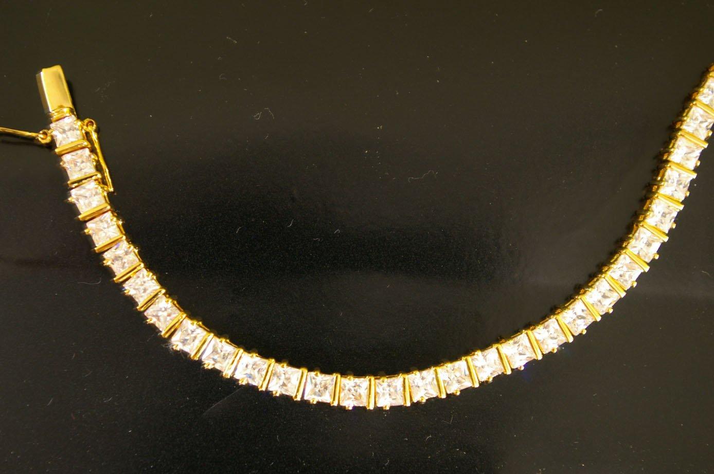 "7.6""nice graduated square cz 24K gold filled bracelet 13"