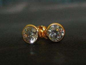 shine Hi quailty cz 24K gold filled pin earrings 02