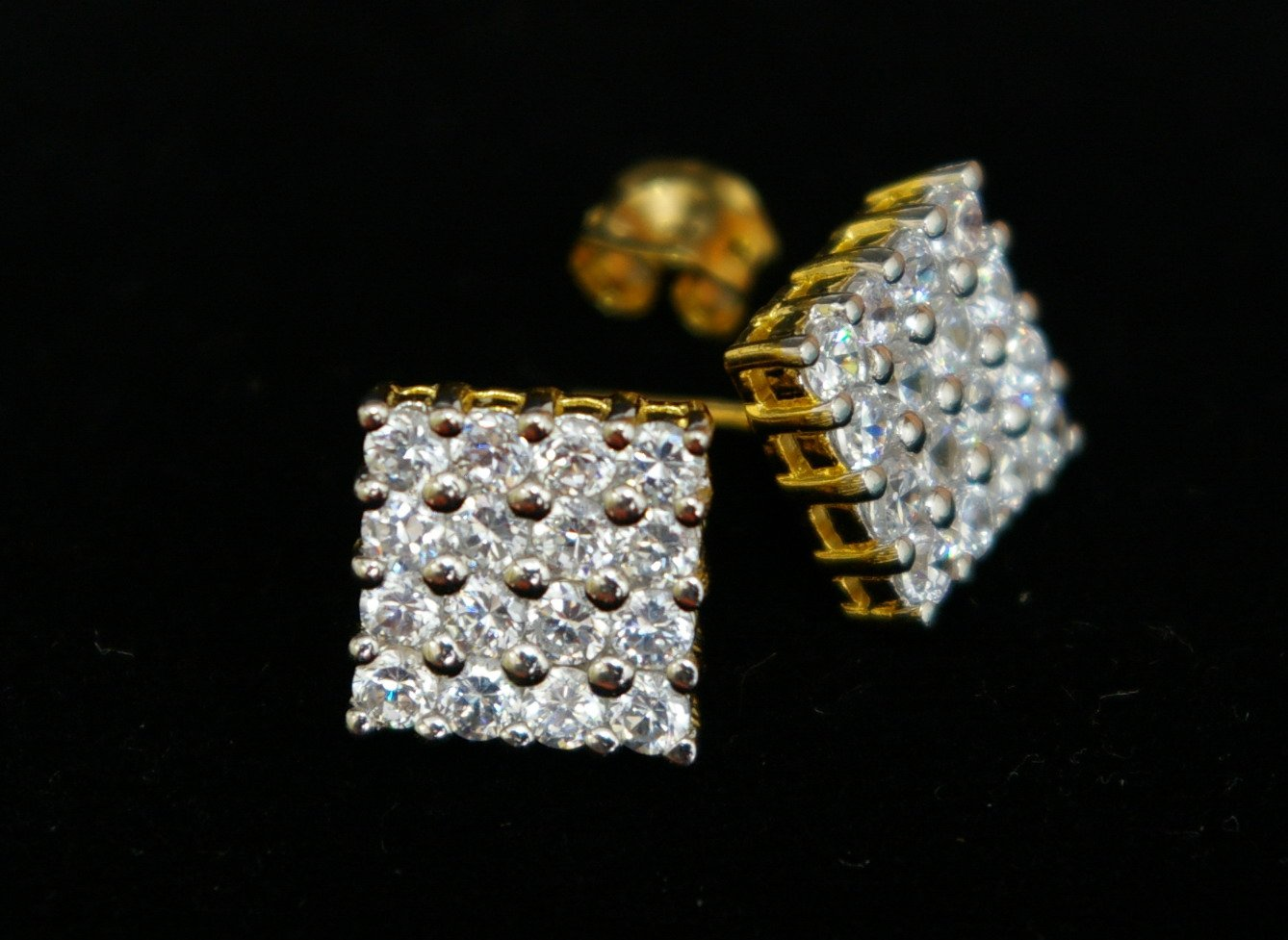 unique beauty 24K gold filled cz diamond pin earrings11
