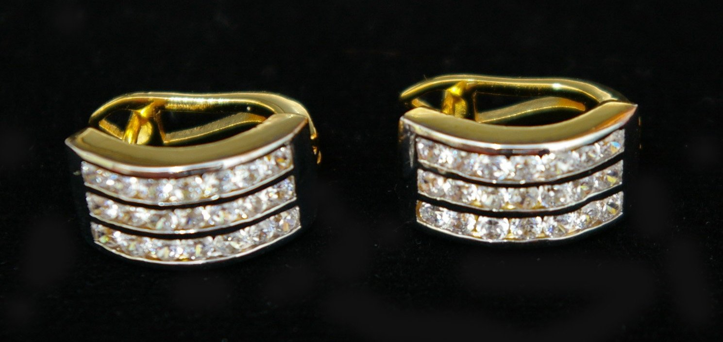 Look like real 24K gold filled cz clip on earrings12