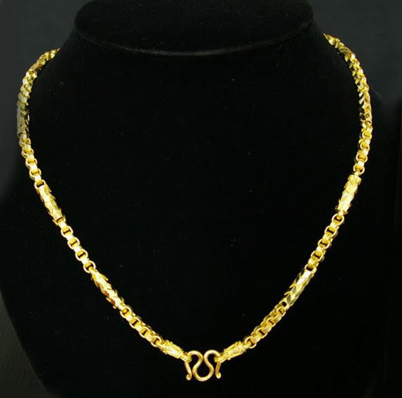 "23.6""nice rod & sand chain 24K gold filled necklace 61"