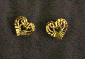 lovely tiny fret heart all 24K gold filled earrings