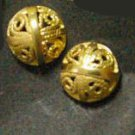 Fret button  earrings all 24K gold filled