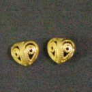 tiny fret heart all 24K gold filled  earrings