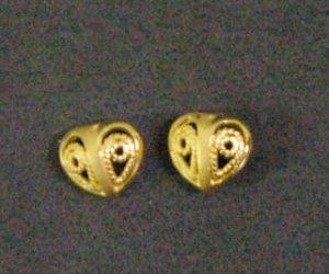 tiny fret heart all 24K gold filled  earrings