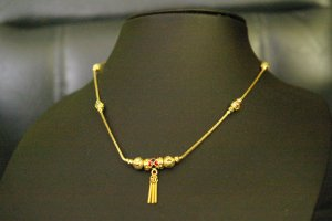 """15.8""""very nice bead enamel 24K gold filled necklace 70"""