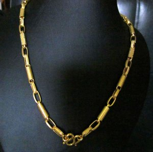 "24"" sand chain & rod handmade 24K gold filled necklace 90"